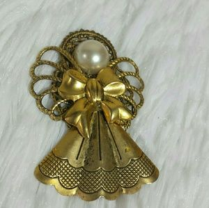 Vintage Pearly Bead Bow Angel Brooch